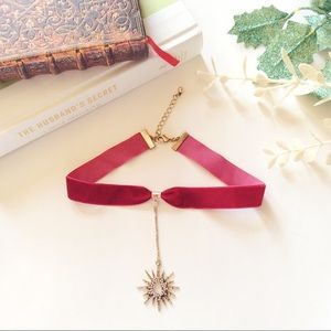 boutique Jewelry - Red ribbon choker necklace pendent