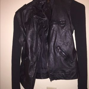 Jackets & Blazers - Black leather and cotton jacket