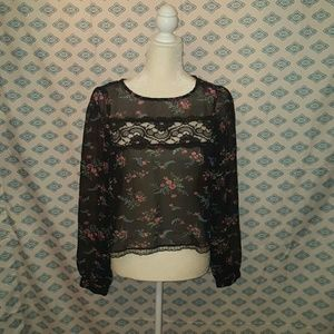 Sheer and lace floral long sleeve open back