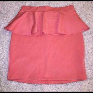 Bebe coral peplum skirt new with tags