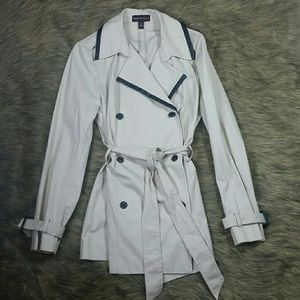 Trench with Faux Leather Trim NWOT