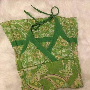 Dresses & Skirts - Green paisley print halter dress