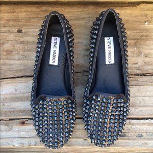 Steve Madden Shoes - Steve Madden studlyy black glitter spiked loafer