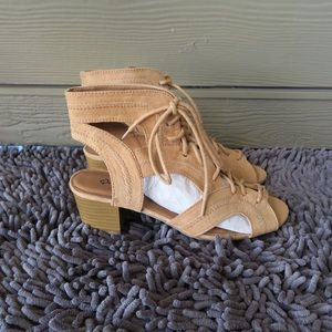 Qupid Shoes - Faux suede cutout chunky heels