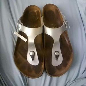 Birkenstock Shoes - Birkenstock Gizeh Silver Birkoflor. Sz 40 R