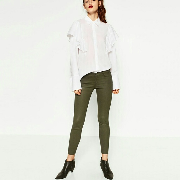 ac64d49f Zara Pants | Olive Green 5 Pocket Waxed Skinny Jeans | Poshmark