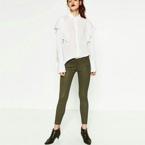 Zara Olive Green 5 Pocket Waxed Skinny Jeans