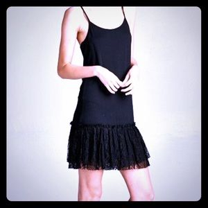 NuBella Dresses & Skirts - Sexy Little Black Jersey Dress Extender with Lace