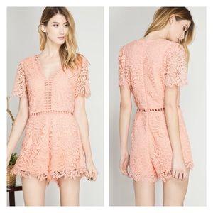 Pants - Arrive Soon- Peach Crochet Lace Romper