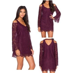 Chaser Dresses & Skirts - Chaser Plum Open Back Bell Sleeve Lace Dress NWT