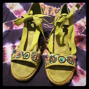 Two Lips Shoes - Two Lips Lime Wedge Heels Beading & Ribbons Size 9
