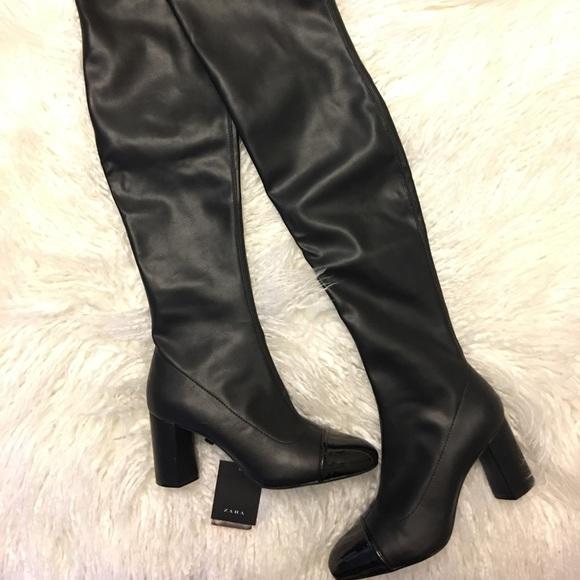 New Zara Over The Knee Cap Toe Boots