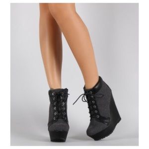 Shoes - NWOT Oxford Lace Up Platform Wedge Booties