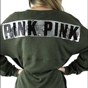 PINK Victoria's Secret Tops - Victoria's Secret Pink Olive Green Sweatshirt