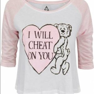 Unif I will cheat on you bear baseball tee Tshirt
