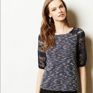 Anthropologie Tops - Anthropologie Postmark Lace Sleeve Woven Knit Top
