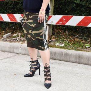Camo Pencil Skirt & Tuxedo Stripe