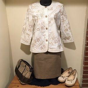 Alfred Dunner Jackets & Blazers - Alfred Dunner embroidered cotton jacket