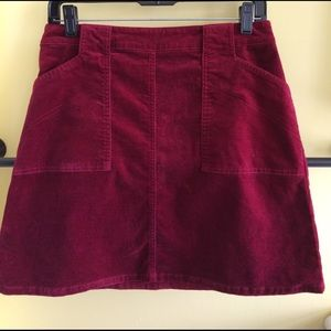 Velvety burgundy skirt