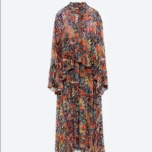 Zara long printed dress with flared sleeves