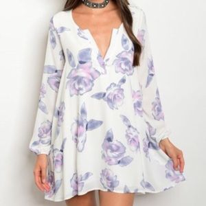 *LAST ONE* New L lavender floral tunic dress