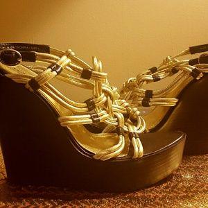 Bebe Gold platform sandals