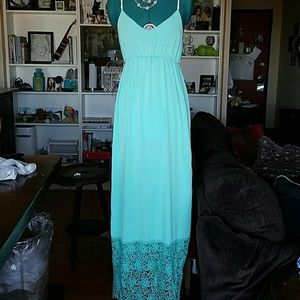 Sage Dresses & Skirts - Sage Mint Blue Maxi Dress with Lace