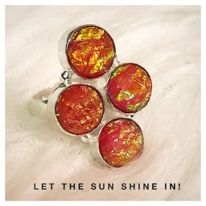 Beautifully Unique Orange Dichroic Glass SS Ring