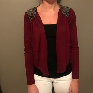 Sweaters - Burgundy cardigan with shoulder details