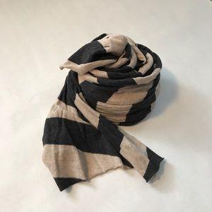 J.Crew Striped Cotton Scarf, Oatmeal/Gray