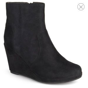 Journee Collection Shoes - Faux suede wedge booties black