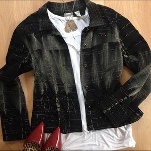 Chico's Black Beaded Jacket Size 1 / Medium