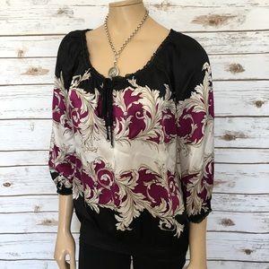 White House Black Market Tops - White House Black Market Blouse Floral 100% Silk