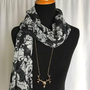 J.Crew black gray lightweight fringe scarf NWOT