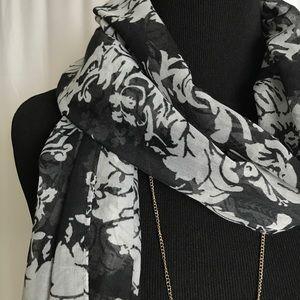 J. Crew Accessories - J.Crew black gray lightweight fringe scarf NWOT