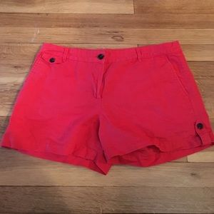 Mango Pants - Red Linen Blend Shorts