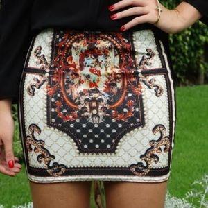 Medieval White Printed Skirt
