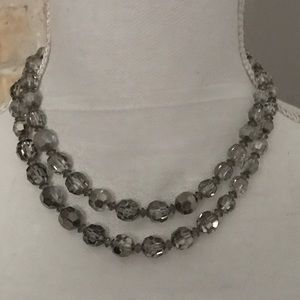 Vintage Jewelry - Vintage 1930's 2 string faceted crystal necklace