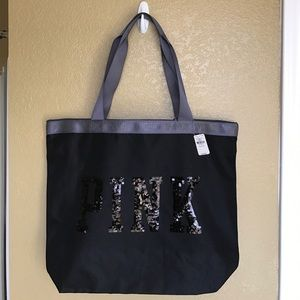 Pink VS bling zippered tote