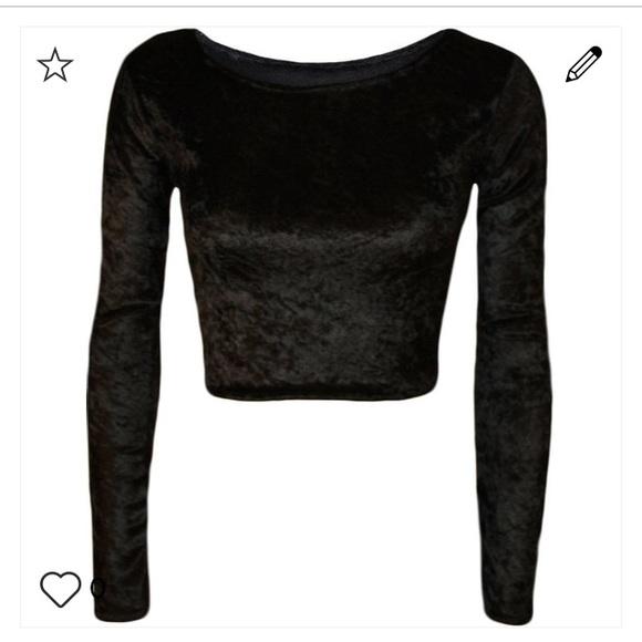 ef82c7a3852a8d H M Tops - H M 90s crushed velvet black long sleeve crop top
