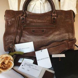 Balenciaga Handbags - Authentic Balenciaga Moto City Bag in Walnut