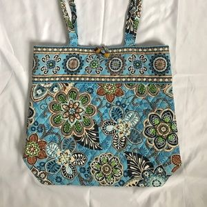 Vera Bradley blue green brown Ivory tote bag