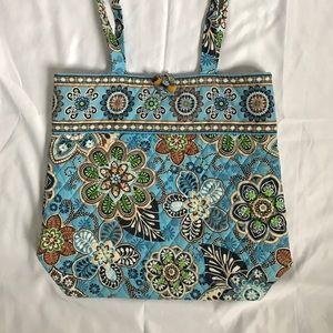 Vera Bradley Handbags - Vera Bradley blue green brown Ivory tote bag