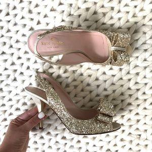 kate spade Shoes - Kate Spade Charm Glittered Bow Slingback Heel