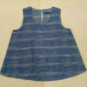 Ivanka Trump Sleeveless Blue Print Blouse Size S