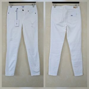 Paige Verdugo Ankle White Skinny Destructed Jeans