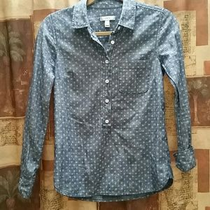 J. Crew Tops - J . CREW Chambray Popover with a Circle Print