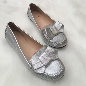 kate spade Shoes - Kate Spade Metallic Silver Moccasins, Size 6.5