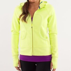 lululemon athletica Tops - Lululemon Thick Yellow Scuba Hoodie w/ Thumb Holes