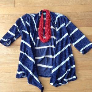 Sweaters - Blue & White Striped Drapey Cardigan